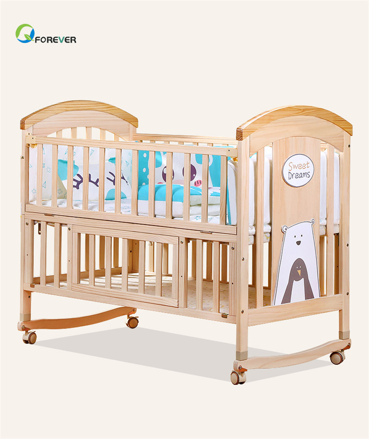 Solid wood crib Best selling solid pine wooden baby bed design/baby swing cot/baby crib attached adult bed
