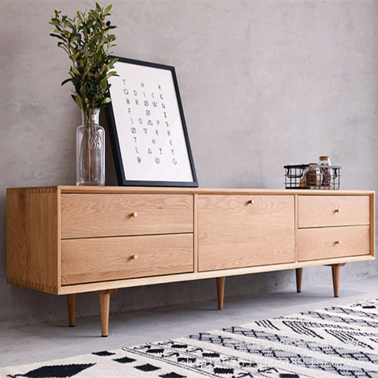 Nordic Design Oak Long Wood TV cabinet with showcase modern tv stand cabinet