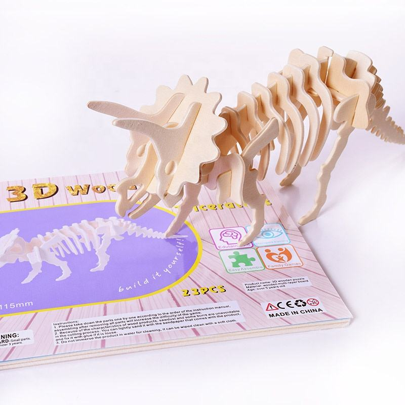 New Arrival Children Education Toys 3D Dinosaur Series Wooden Jigsaw Puzzle Game