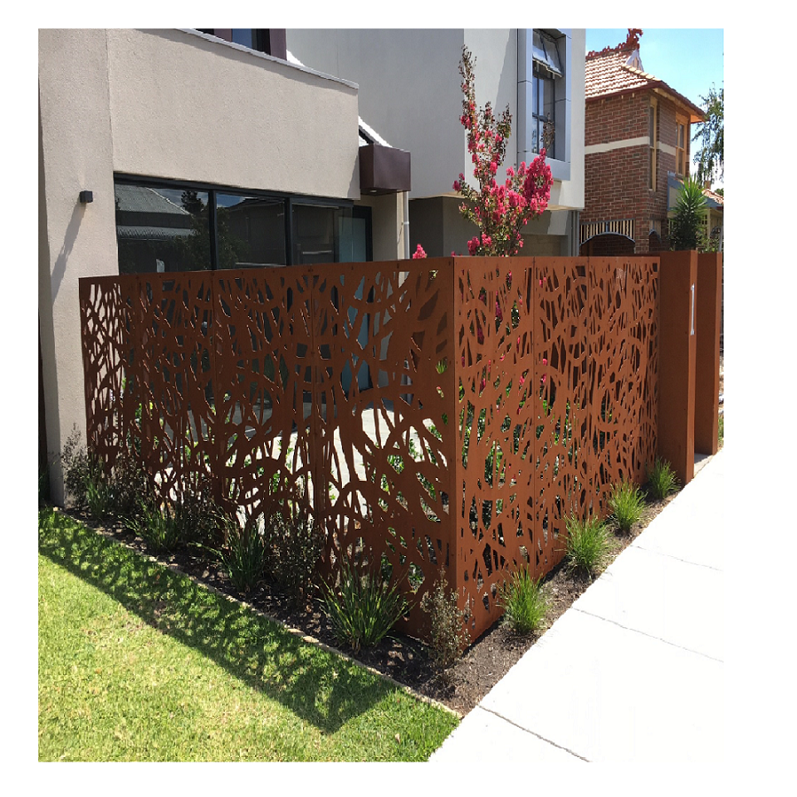 Decorative metal garden fence and gate
