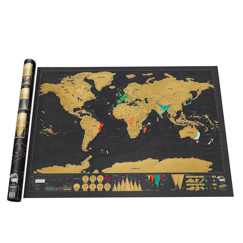 Kreative Scratch Weltkarte Schwarz Gold Welt Reise Scratch off Map