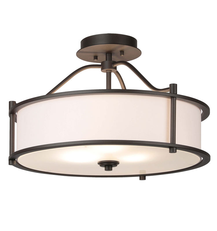 Contemporary 18 inch Semi Flush Mount Dark Bronze 3 Light Close to Ceiling Light with Fabric Shade and Glass Diffuser