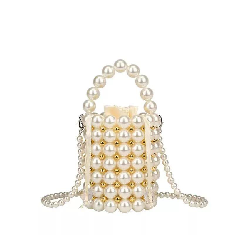 Handmade Evening Handbag Clutch Shoulder Tote Pearl Crossbody Bag Purse Pearl Bucket Bag Stone Purse Mother of Pear Bags