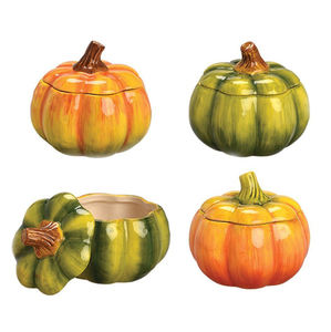 4 Pack Mini Pumpkins Shape Ceramic Soup Bowl with Covers
