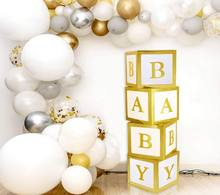 Hot Amazon Baby Shower Baby Letter Black Plastic Cube Transparent Box A-Z Letters Gold White Party Baby Box