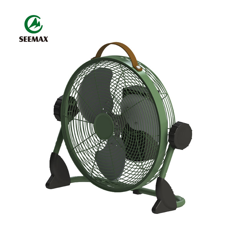 Outdoor Metal 12 Inches Battery Operated High Speed Air Cooling Fan Rechargeable Portable Industrial Floor Fan