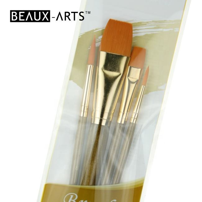 4 Pcs Golden Taklon Hair Brushes for Artist Art Materials Paint Brushes Set
