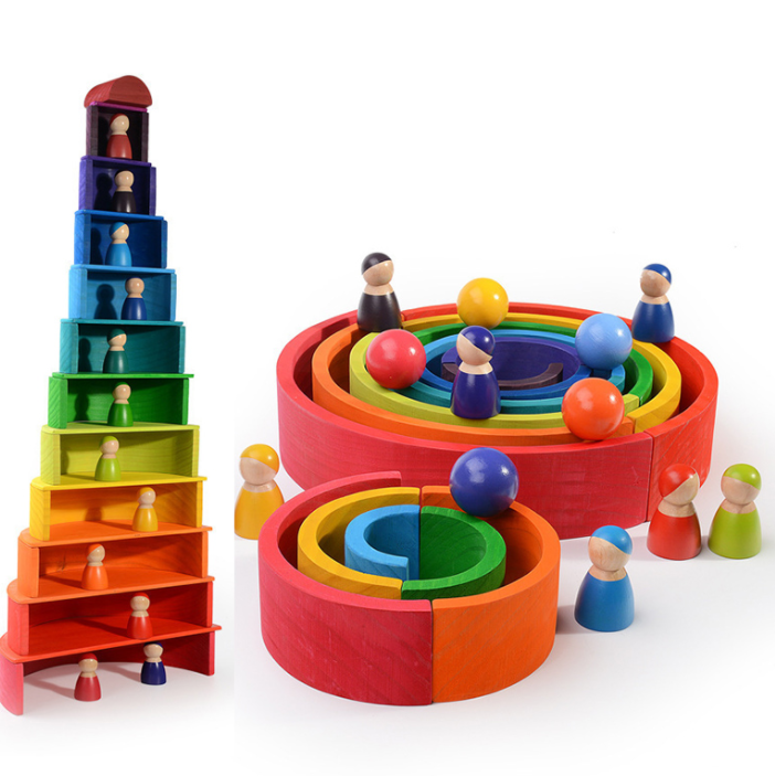 Wooden Rainbow Education Toys Play Wooden Stack Block Children Wooden 12 Colors Friends Peg Dolls Rainbow Blocks