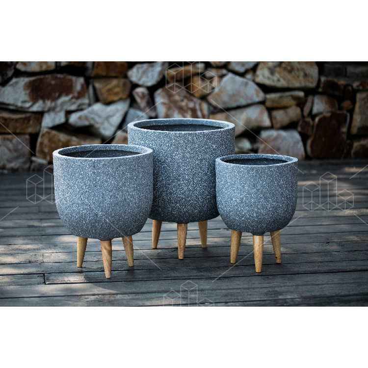 Nuevo diseño de pierna de madera macetas jardín plantado al aire libre grande jardinera interior macetas para la