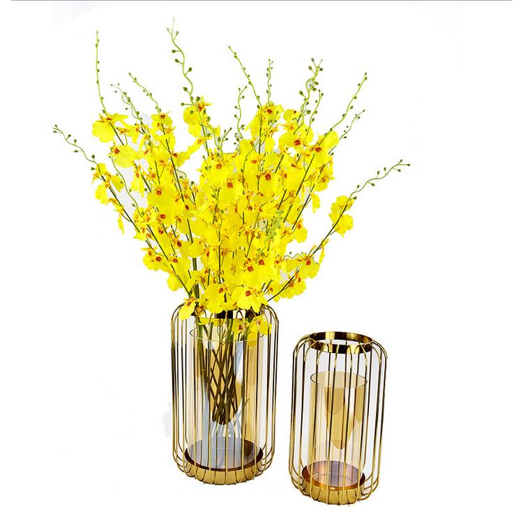 Glass Metal [ Flower Vase ] A52 Metal Creative Flower Simple Ironwork Hollow Decoration Modern Glass Vase Nordic Home Decor Vase