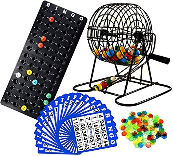 Cheap numbered balls bingo cage marker games kids juguete for game Traditional Bingo Game Set with Metal Bingo Cage