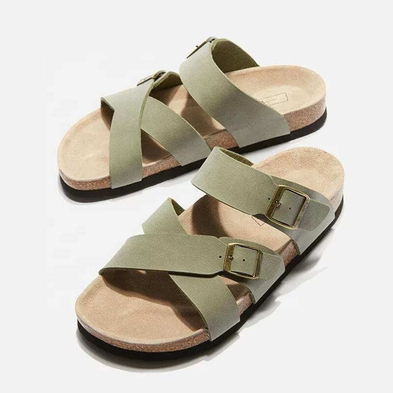 Men and women Buckle Straps Slip-on Sandals for indoor and outdoor made of PU upper and cork sole