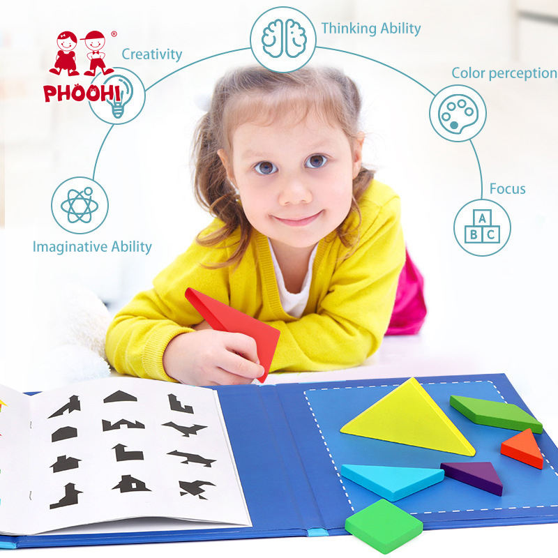 Children Montessori Educational Toy Baby Magnetic Tangram Puzzle Book For Kids