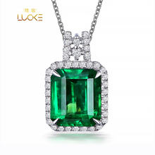 Wholesale Simple Design Green Pendant Necklace Jewelry Women Zircon Green Gemstone Pendant