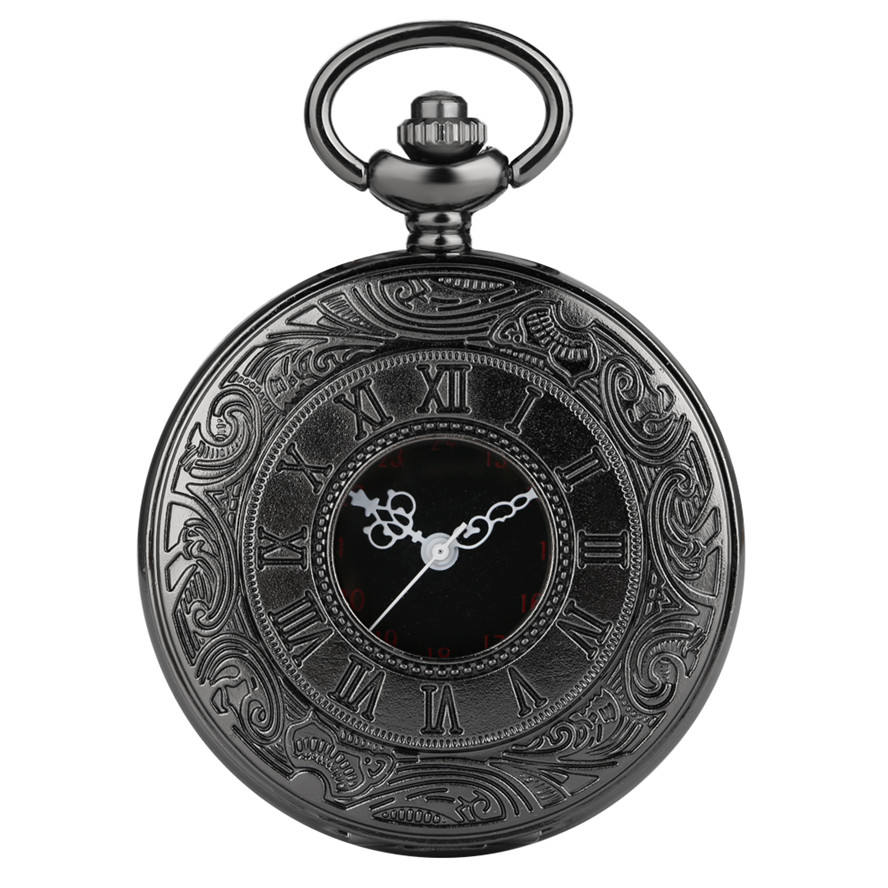 Wholesale Black Roman Numerals UP Dial Mens Pocket Watch with Watch Chain