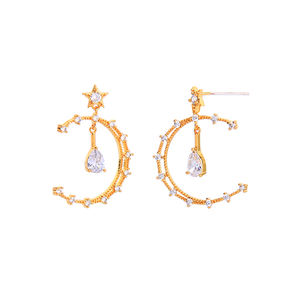 me97258 Ins Style Gold Plated 925 Silver Post Brass Design Zircon Crescent Moon and Star Hoop Earrings