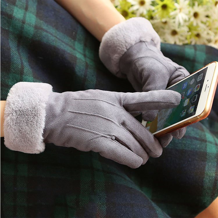 Wholesale Winter Women's Fashion Cute Plush Warm Suede Leather Gloves