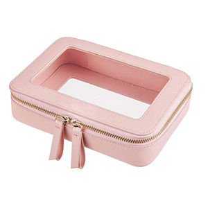 PVC clear makeup bag pink leather cosmetic Bag