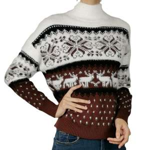 WInter Fashion Jacquard Long Sleeve Burgundy Crew Neck Mohair Sustainable Quality Stripe Christmas Women Pullover Sweater