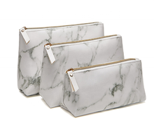 Amazon Hot Sell Top Gold Zipper PU Marble Cosmetic Bag Set