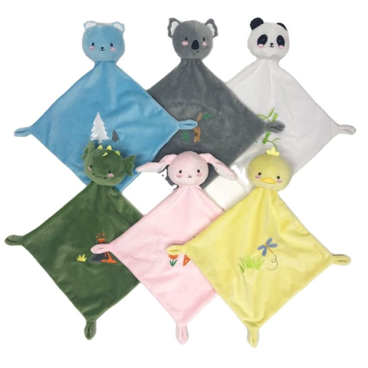 Super soft flannel fleece animal plush toddler toys embroidery mink baby security blanket