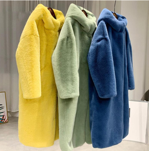 New Autumn Winter Fur Coat Women Clothes High Quality Imitation Mink Fur Hooded Plus Size Thicken Warm Long Coats Female