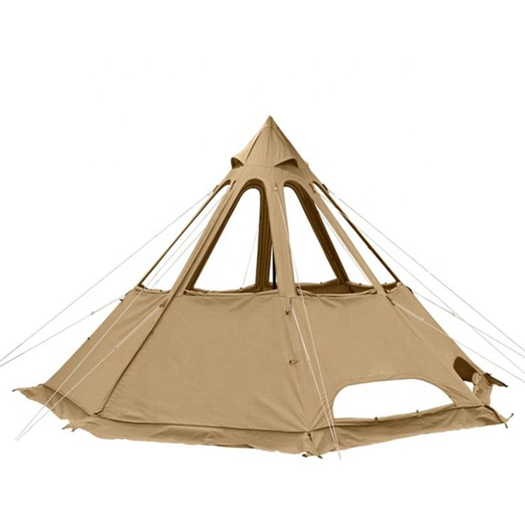 Luxury Glamping Cotton Canvas Tipi Tent Outdoor Camping Pyramid Tent Camping Campfire Picnic Tipi Tents for Sale