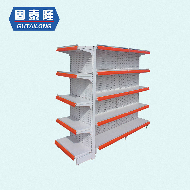 Modern double sided cold-rolled steel supermarket display shelves for retail