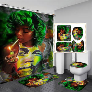 Wholesale Custom Printing Eco Friendly Shower Curtain Set for Bathroom