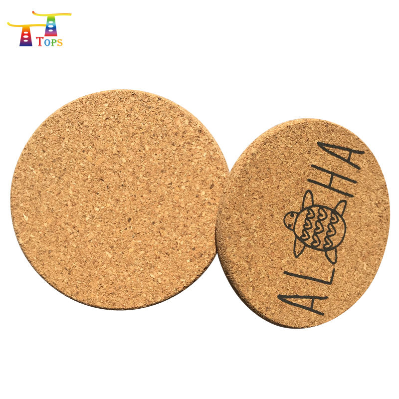 Natural Cork Coasters with Metal Holder set of 8 pcs -4 inch 1/5 inch Thick Cold Drinks Wine Glasses Cups Mugs Cork Coaster