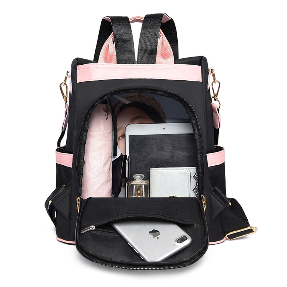 Oxford [ Bag ] Backpack Pink And Black Waterproof Anti-tear Oxford Cloth Anti Theft Backpack Travel Bag Backpack Backpack Women
