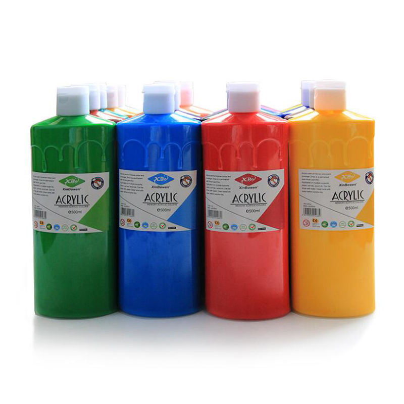 Hot Sale Non-toxic 19 Colors Plastic Bottle 500ml Colorful Acrylic Paint Bulk Artist Acrylic Paint