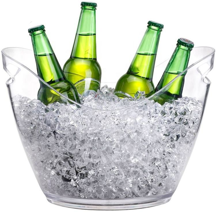 8L Customer logo Acrylic Champagne Wine beer Ice Bucket with handle for BAR