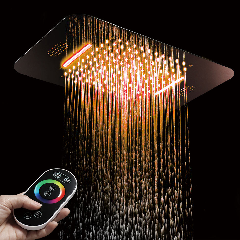 HIDEEP Luxury Colorful ShowerHeads Shower Ceiling Square SUS304 Bathroom Bluetooth Music Rainfall Remote Control LED Shower Head