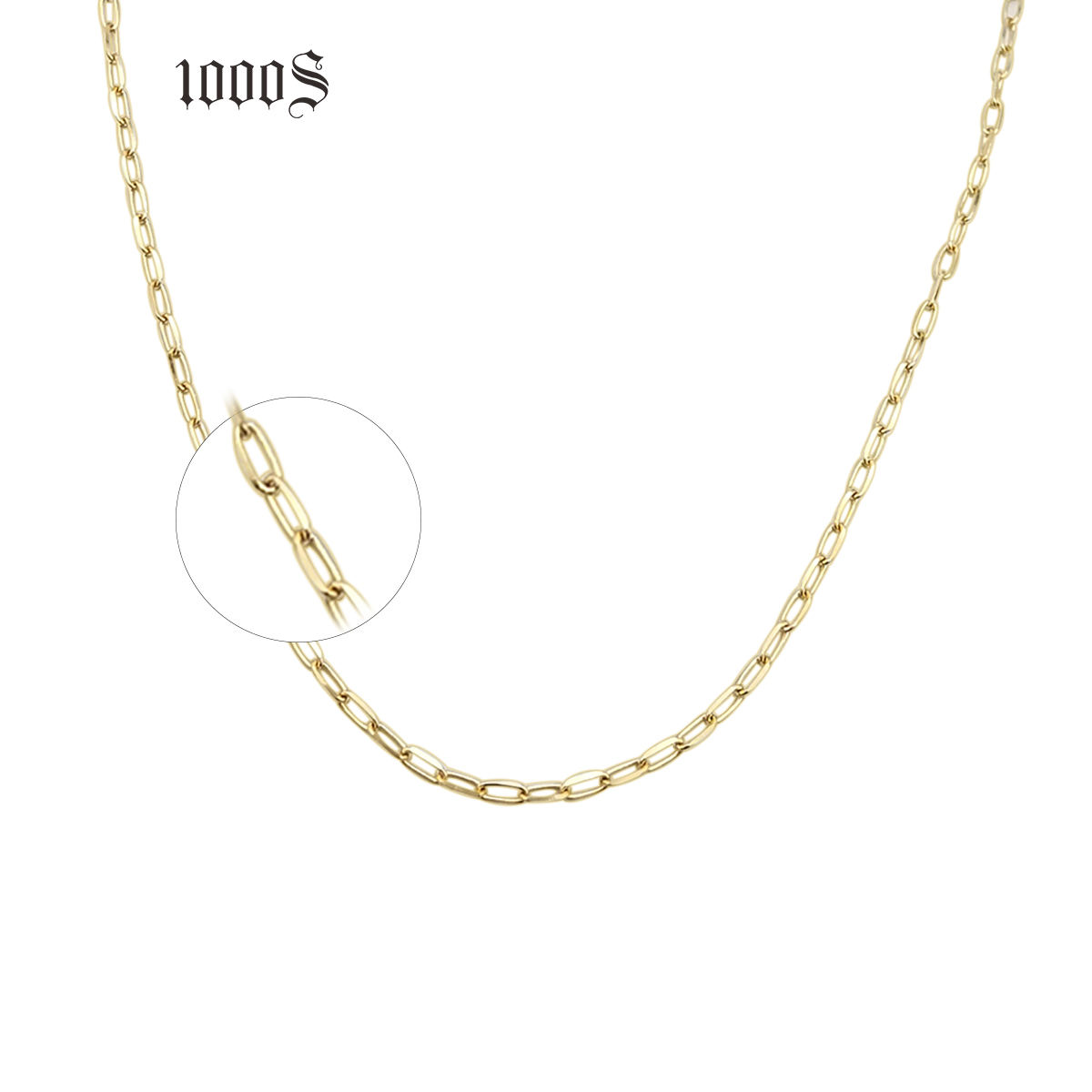 New Arrival 14K 18K Solid Yellow Gold Large Link Chain Paper Clip Gold Chain Necklace Jewelry Adjustable Length