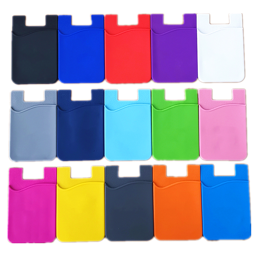 Phone Card Holder Silicone Adhesive Stick-on ID Credit Card Wallet Phone Case Pouch Sleeve Pocket Compatible with Most of Smart