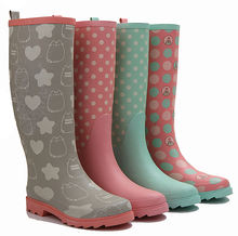 women waterproof thigh high latex rubber rain boots for lady