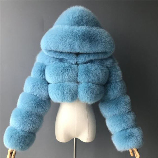 2020 hot sale colored short crapped bubble real fox fur hooded coat for woman trendy with hooded