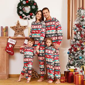 New Arrival Family Christmas Pajamas Winter Clothes Parents and Kids Christmas onesie hooded Romper christmas Pajamas For Family