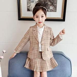 China Wholesale Children Wear Autumn Korean Beige Laid Suit Jacket Cheap Pleated Plaid Skirt Children'S Skirt Suit