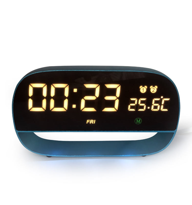 Fashion Design Metal Smart Sensor LED Digital Table Clock Temperature Week Display Alarm Touch Clock With Power Off Memory