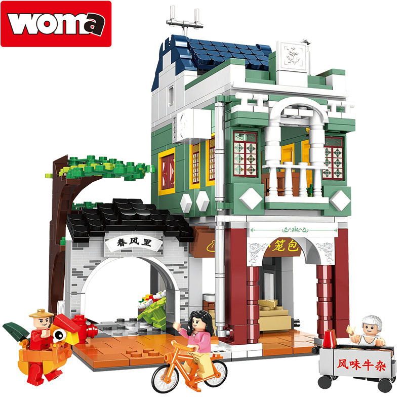 WOMA toys 681pcs China Civilization street legoed city abs building block bricks construction toy set model
