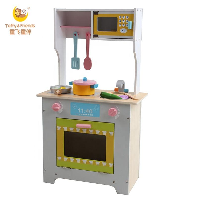 Toffy & Friends Preschool Wooden Kids Kitchen Set Toys for Pretend play Cooking