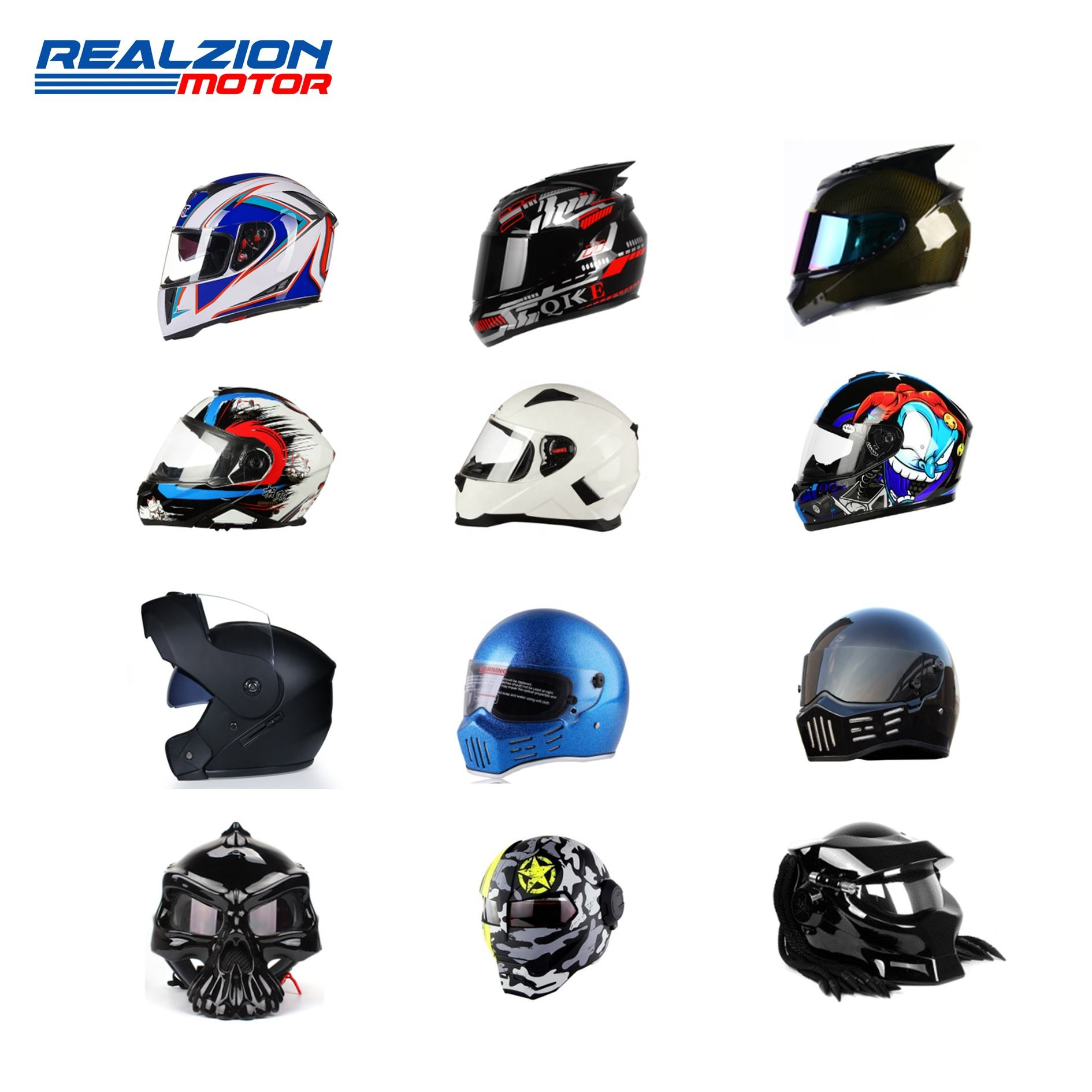 REALZION Customize Motocross Motorcycle Accessories Motorbike Racing DOT ECE Certification Size Carbon Fiber Full Face Helmet