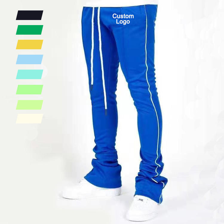Custom Men's Track Pants Polyester Drawstring Stripe Skinny Sweatpants Stacked Fashion Jogger Wear Pants