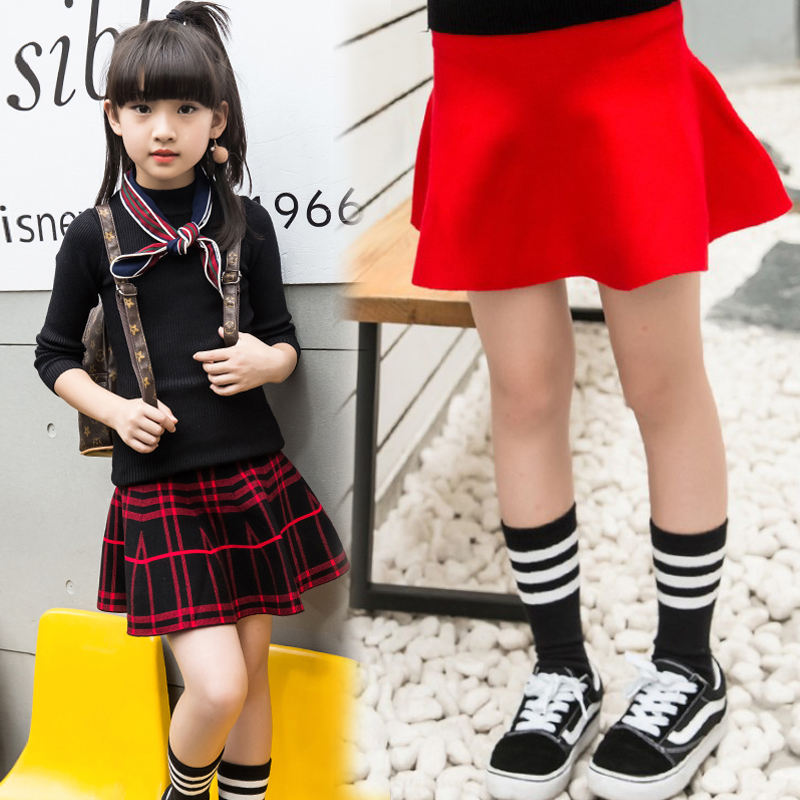 Wholesale Toddler Girl Clothing Kids Preppy Style Christmas High Waist Plaid Solid Mini Knit Teenager Girls' Skirts