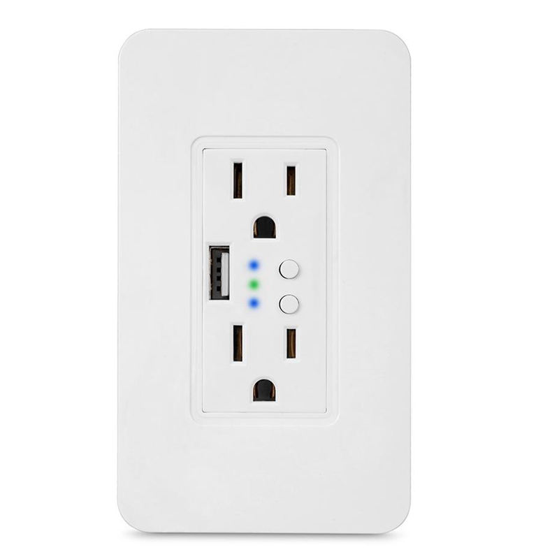 Nieuwe Ontwerp Smart Home 2 Outlet Huidige Tap Met 1 Usb Protector Stopcontact Google Assistent Tuya App Controle Plug base