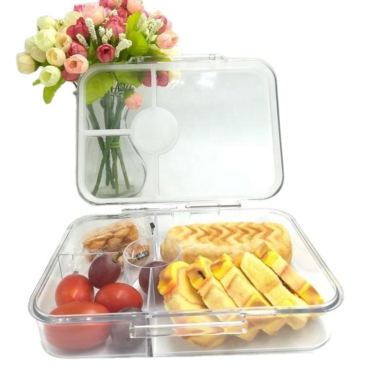 Leakproof Tritan clear 4 compartments bento box look like glass meal prep containers portable salad food container