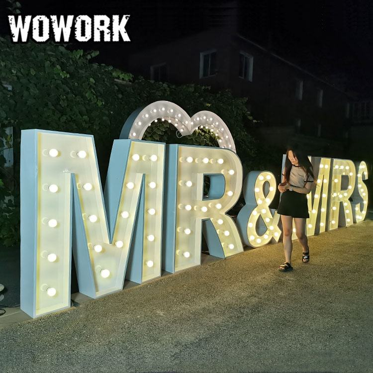 WOWORK wedding decorate heart sign symbol light made of iron Large Marquee Lights with Plug Driven