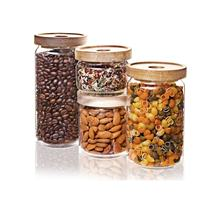 Glass Food Storage Container Set of 4 with Acacia Lid Suitable for Food Storage Glass Jar